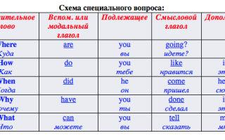 Специальные вопросы в английском языке (Special Questions) с таблицами и примерами