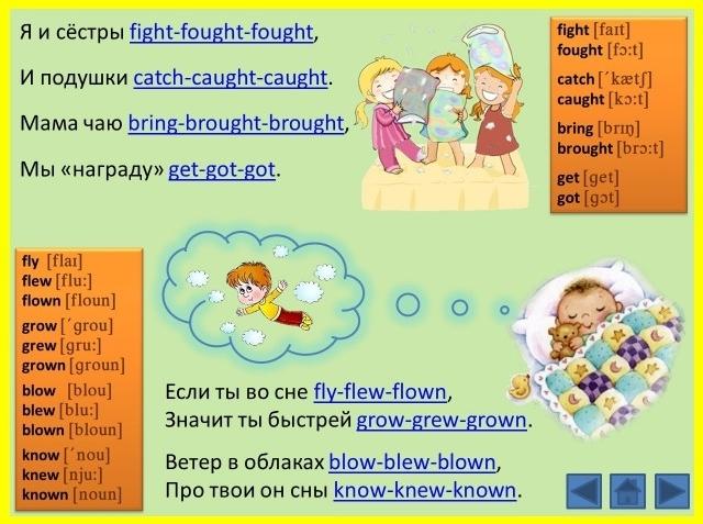 Стихи с неправильными глаголами на английском: формы глаголов быстро и весело