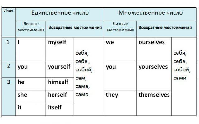 Возвратные местоимения в английском языке: правила, таблица, примеры