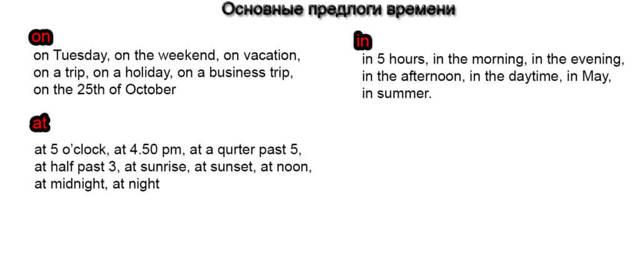 Предлоги в английском языке