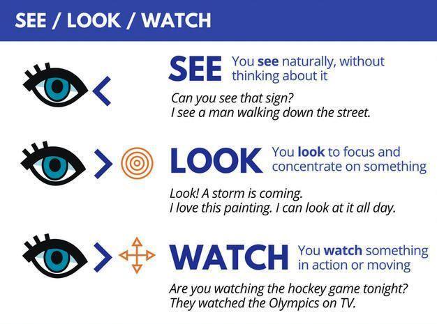 Отличия между глаголами look, see, watch и другими синонимами