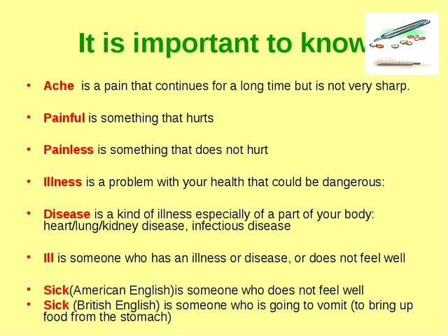 Разница в употреблении ache, pain, hurt, sick и ill