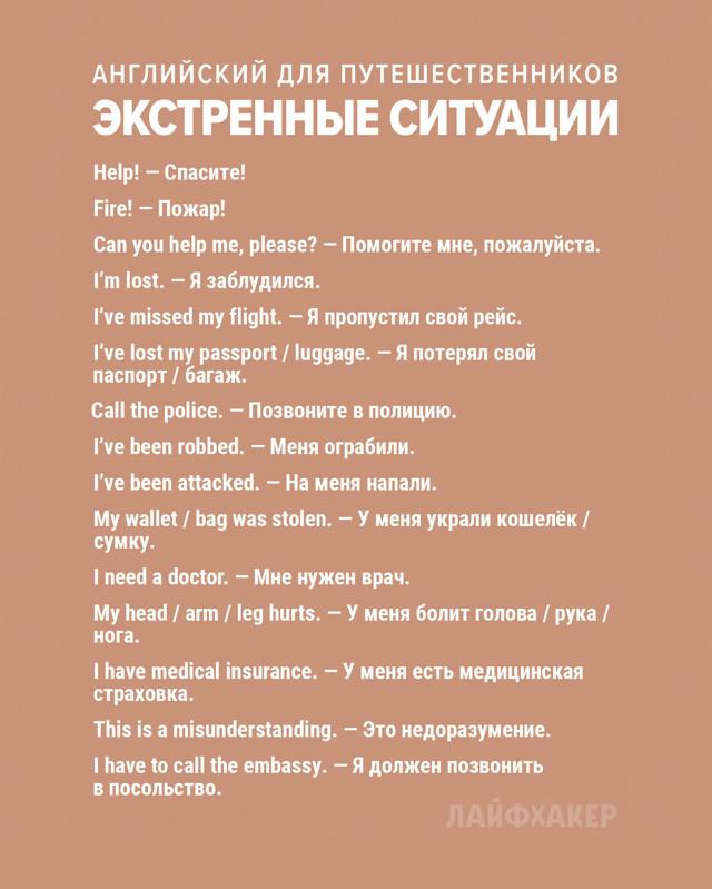 Английские фразы, необходимые в путешествии
