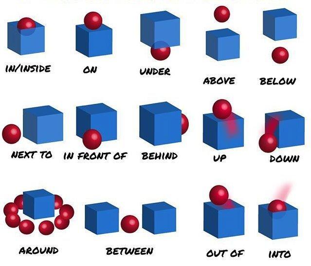 Предлоги места и движения в английском: at, in, on, under, in front of, to и другие